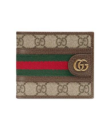 Ophidia GG Wallet  In Beige Ebony & Green & Red