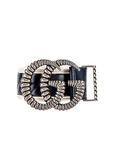 Leather Torchon Double G Buckle Belt