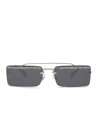 Embellished Skinny Square Sunglasses