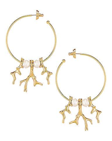 Coral Metal Branch Earrings