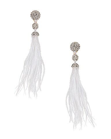 Long Beaded Feather Earrings