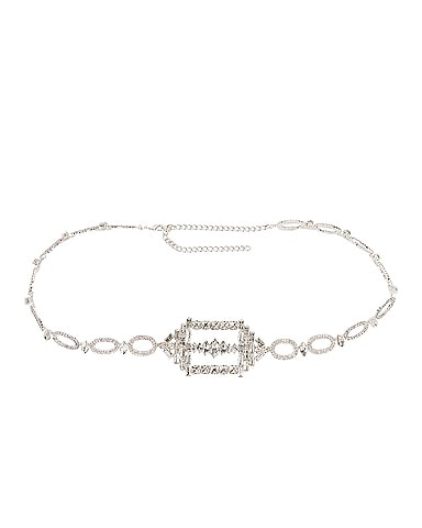 Hexagon Buckled Chain Belt