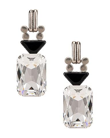 Crystal Stone Clip Earrings