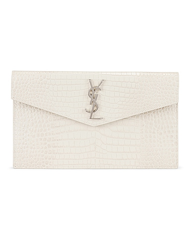 Uptown Medium Embossed Croc Envelope Clutch