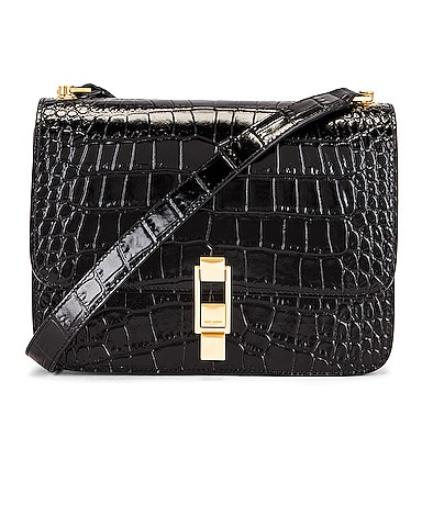 Carre Embossed Croc Shoulder Bag