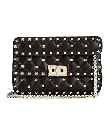 Rockstud Leather Spike Chain Shoulder Bag