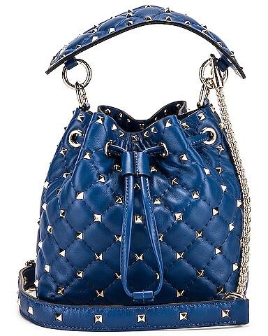 Rockstud Leather Spike Bucket Bag