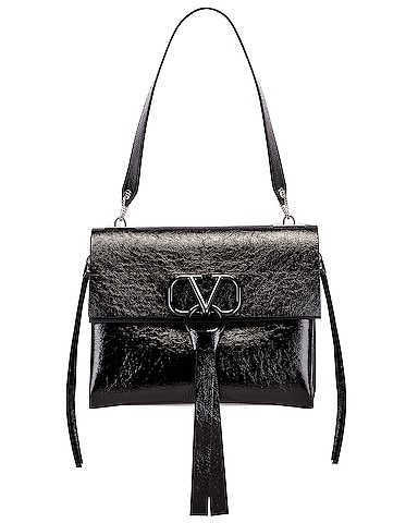 V Logo Ribbon Shoulder Bag