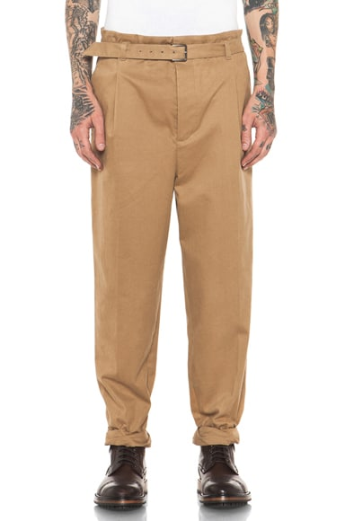 Single Pleat Tapered Pant with Adjustable Waist