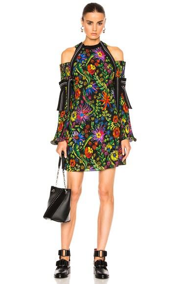 Long Sleeve Floral Cold Shoulder Dress