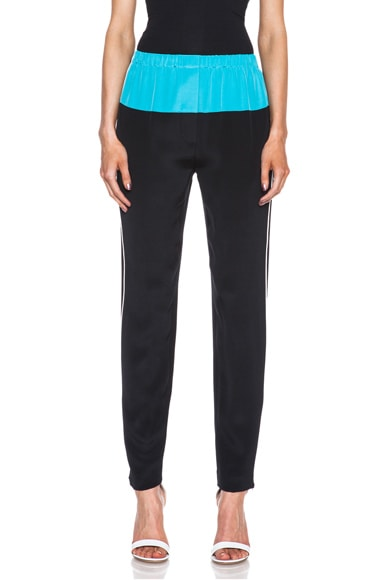 Contrast Color Silk Jogging Pant