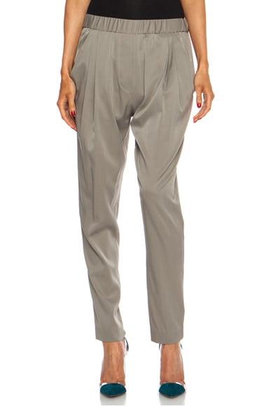 Draped Pocket Silk-Blend Trouser