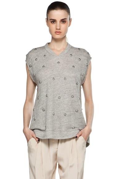 Sleeveless Oversized Peplum T Shirt w/ Dome Embellishment