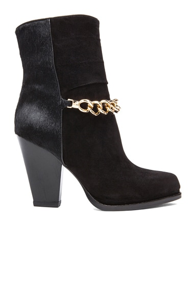 Chain High Heel Suede & Calf Hair Boots