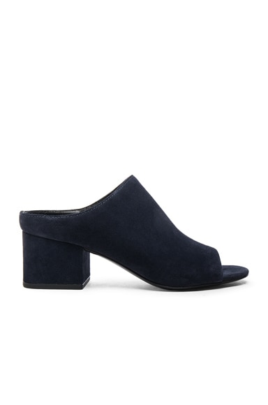 Cube Suede Open Toe Mules