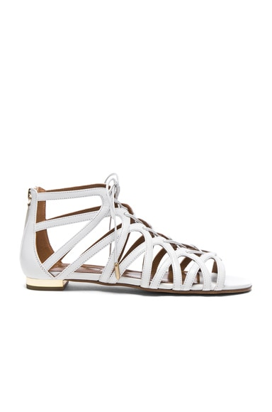 Leather Ivy Sandal Flats in White