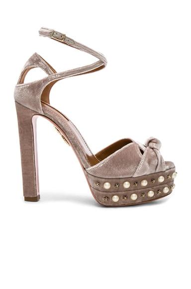 Velvet Harlow Pearls Pleateau Heels