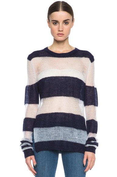 Acne studios octave kid mohair blend sweater in ink blue amp antique