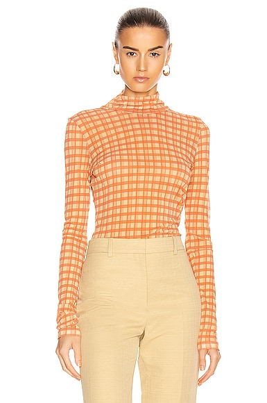 Plaid Turtleneck Top
