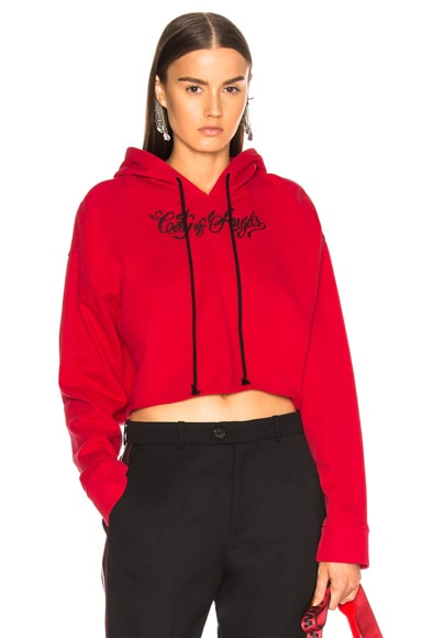 Embroidered Cropped Hoodie