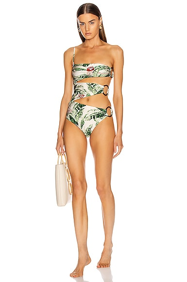 x Cult Gaia Tropical One Shoulder Swimsuit with Hoops