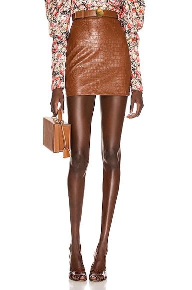 Bertha Faux Leather Printed Croco Mini Skirt