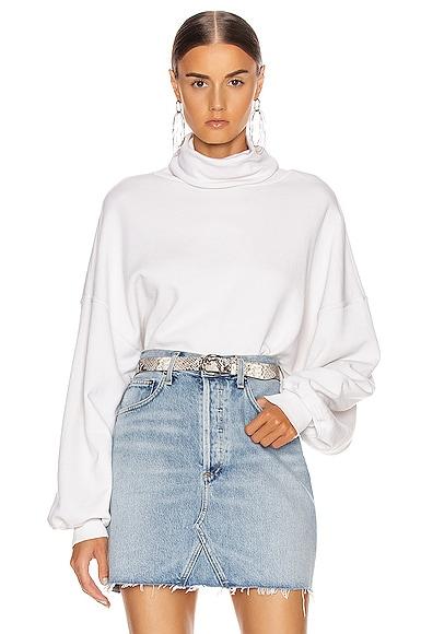 Balloon Sleeve Turtleneck Sweatshirt