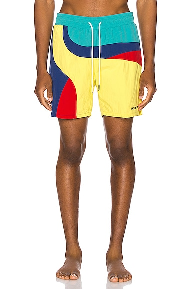 Color Blocked Swim Trunks
