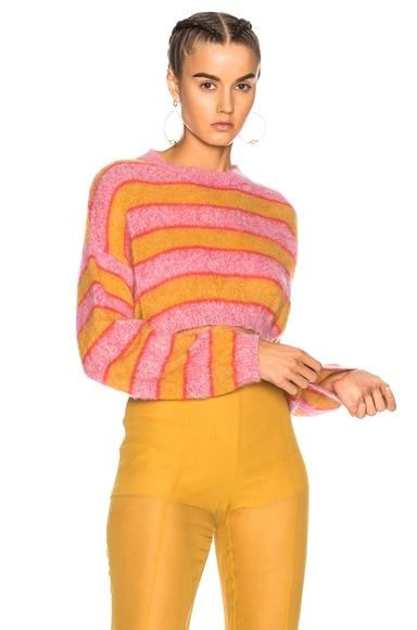 Striped Cropped Crewneck Sweater