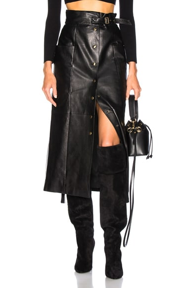 Button Front Leather Midi Skirt