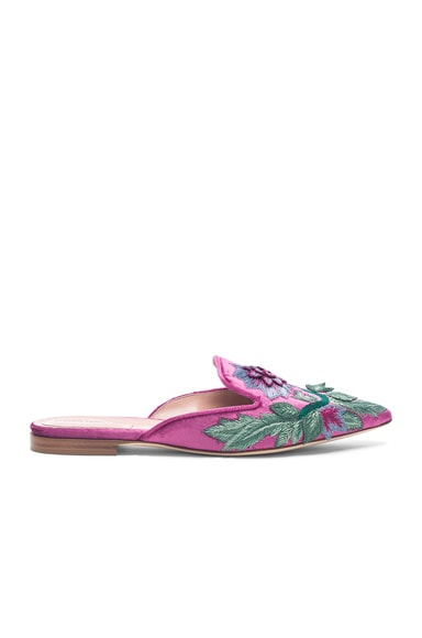 Flower Embroidered Velvet Mules