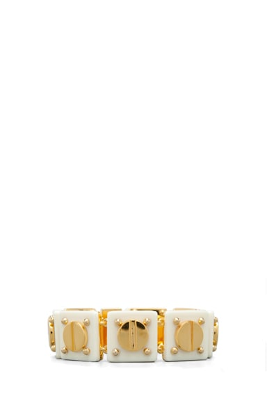 Ivory Resin and 14 kt Yellow Gold Plated Screw Tennis Bracelet