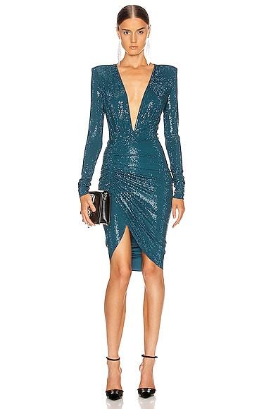 Ruched Microcrystal Mini Dress