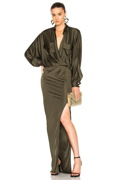 Shiny Jersey Long Sleeve Maxi Dress