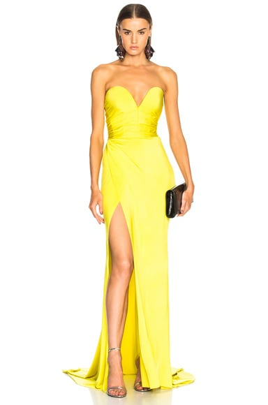 Shiny Jersey Strapless Gown