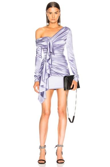 Asymmetrical Shoulder Ruffle Dress