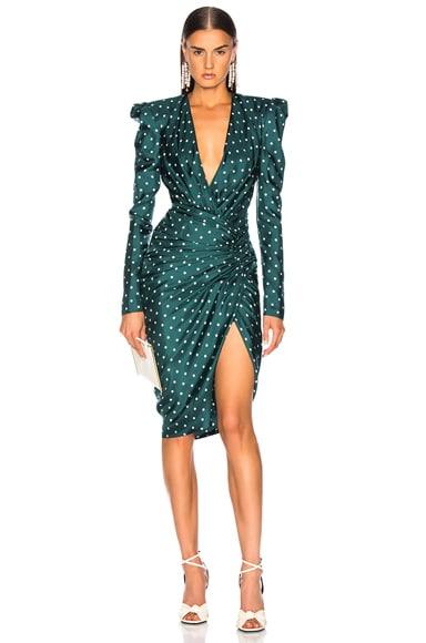Dot Twill Draped Midi Dress