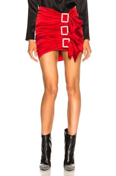 Stretch Satin Buckle Mini Skirt