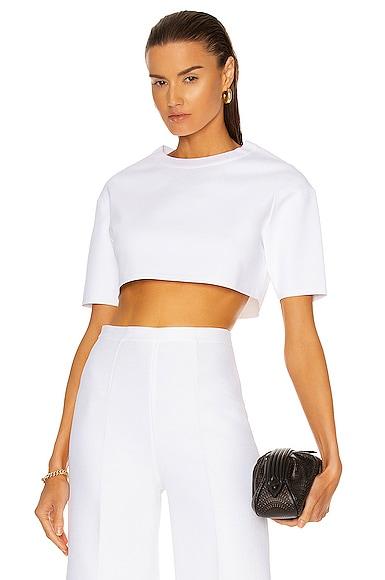 Alaïa Viscose Short Sleeve Top In Blanc