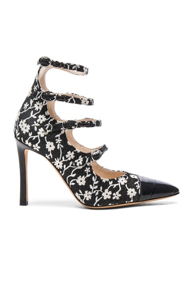 Isabella Multi Strap Mary Jane Heels in Black & Natural White