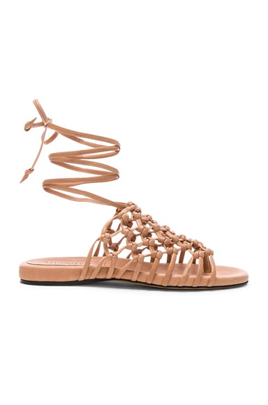 Knotted Leather Ankle Wrap Sandals