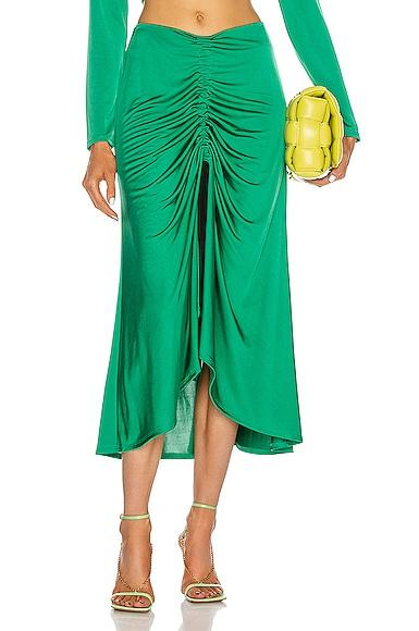 Alexis Didi Front Slit Midi Skirt In Emerald