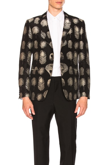 Feather Jacquard 2 Button Blazer