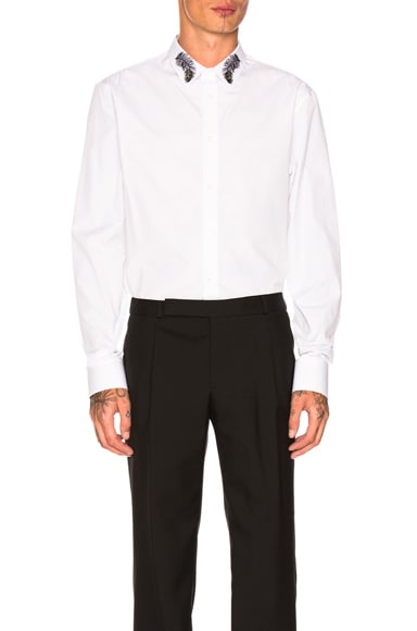 Plain Poplin Embellished Collar Shirt