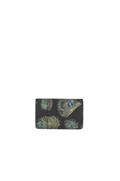 Feather Printed Leather Card Holder