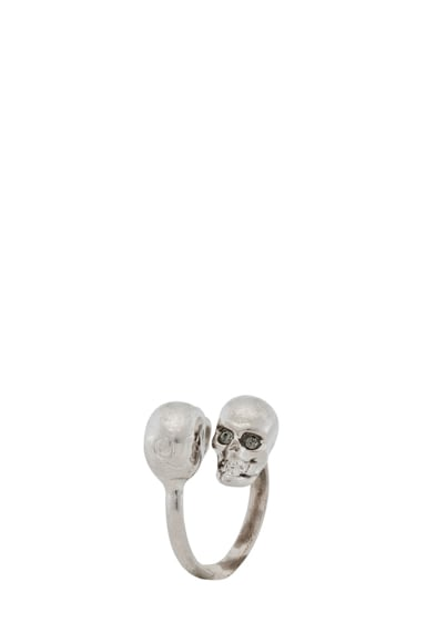 Twin Skull Brass Ring