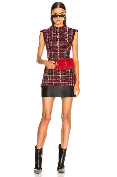 Leather Trim Tweed Mini Dress