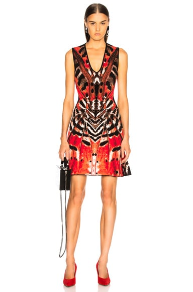 Engineered Butterfly Jacquard Sleeveless Mini Dress