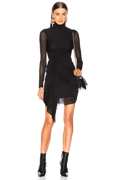 Sheer Sleeve Ruched Mini Dress