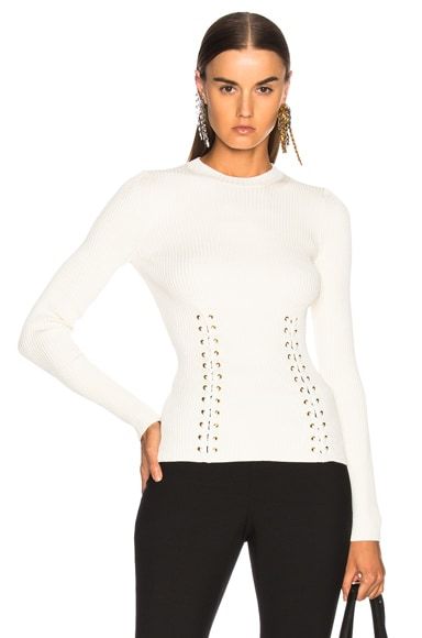 Gold Eyelet Engineered Rib Crewneck Sweater